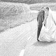 Newlyweds Walking Kissing Pencil Portrait Art Print