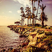 Newport Beach Jetty Vintage Filter Picture Art Print