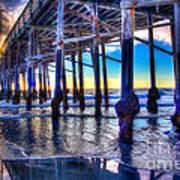 Newport Beach Pier - Low Tide Art Print