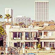 Newport Beach Skyline Vintage Panorama Art Print