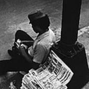 Newspaper Boy Mexico City D.f. Mexico 1970 Art Print