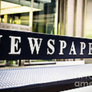Newspapers Stand Sign In Chicago Art Print