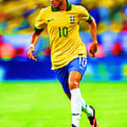 Neymar Soccer Football Art Portrait Painting Art Print