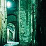 Night Alley In Old City Of Siena Tuscany Italy Art Print