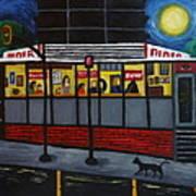 Night At An Arlington Diner Art Print by Victoria Lakes