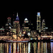 Night At Penn's Landing - Philadelphia Art Print