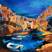 Night Colors Over Riomaggiore - Cinque Terre Art Print by Elise Palmigiani