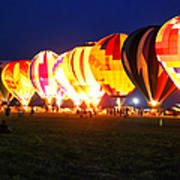 Night Glow Hot Air Balloons Art Print