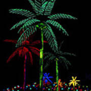 Night Lights Electric Palm Trees Art Print