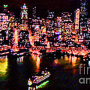 Night Lite Seattle Art Print