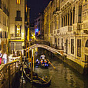 Night On The Canal - Venice - Italy Art Print