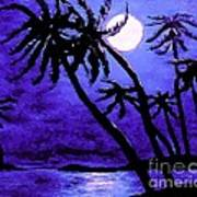 Night On The Islands Painterly Brushstrokes Art Print