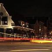 Night Scene At The Intersection Of Main Street And Schutstraat In Hoogeveen Art Print