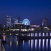 Night Scene In Blue Of Minatomirai In Yokohama Art Print