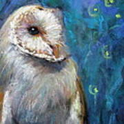 Night Snow Owl Art Print