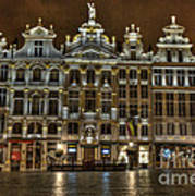 Night Time In Grand Place Art Print