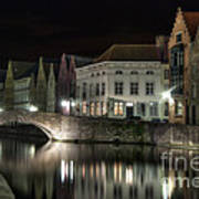 Night Time On The Canal Art Print