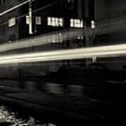 Night Train Black And White Art Print