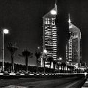 Night View Of Emirates Towers In Dubai Art Print