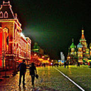 Night View Of Gum And Saint Basil Cathedral In Red Square In Moscow-russia Art Print