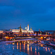 Night View Of Moscow Kremlin In Wintertime - Featured 3 Art Print