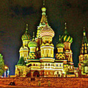 Night View Of Saint Basil Cathedral In Red Square In Moscow-russia Art Print