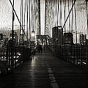 Nightfall On The Brooklyn Bridge Art Print