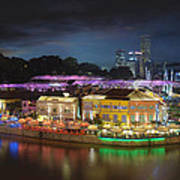 Nightlife At Clarke Quay Singapore Aerial Art Print