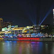Nightlife At Clarke Quay Singapore Art Print