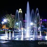 Nighttime At Chico City Plaza Art Print
