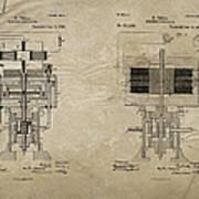Nikola Tesla's Electrical Generator Patent 1894 Art Print