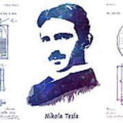 Nikola Tesla Patent Art Electric Arc Lamp Art Print