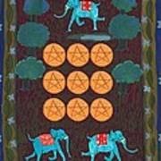 Nine Of Pentacles Art Print