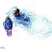 Ninja Stealth Disappears Into Bubble Bath Art Print