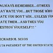 Nixon Quote In Cyan Art Print