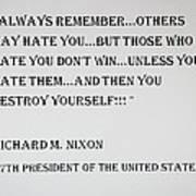 Nixon Quote  Art Print