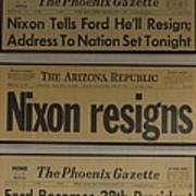 Nixon Resigns Art Print
