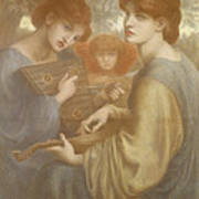 No. 1011 Study For The Bower Meadow Art Print by Dante Gabriel Charles Rossetti