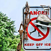 No Ice Skating Today Art Print