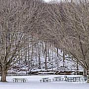Snowy Picnic Ground In Winter Art Print
