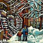 No School Today Out For A Snowy Walk Verdun Winter Winding Staircases Montreal Paintings C Spandau Art Print