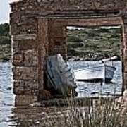 Vintage Boat Framed In Nature Of Minorca Island - Hide And Seek Art Print
