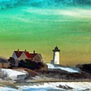 Nobska Lighhouse In Winter Art Print