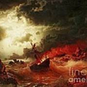 Nocturnal Marine With Burning Ship Art Print by Pg Reproductions