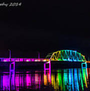 Norbert F. Beckey Bridge In Rainbow Lighting Art Print