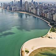North Avenue Beach Chicago Aerial Art Print by Adam Romanowicz
