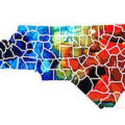 North Carolina - Colorful Wall Map By Sharon Cummings Art Print