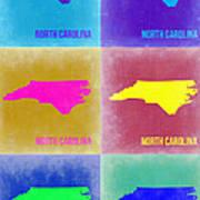 North Carolina Pop Art Map 2 Art Print