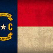 North Carolina State Flag Art On Worn Canvas Art Print