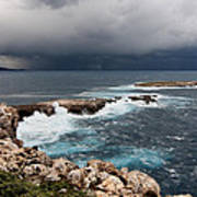 Wild Rocks At North Coast Of Minorca In Middle Of A Wild Sea With Stormy Clouds Art Print